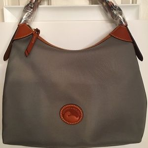 NEW, NWT! Large Nylon Erica Hobo with leather trim